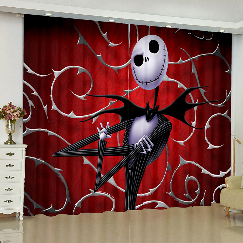 Halloween Curtains for Window The Nightmare Before Christmas Blinds Finished Drapes Window Blackout Curtains Parlour Blinds in Curtains from Home Garden