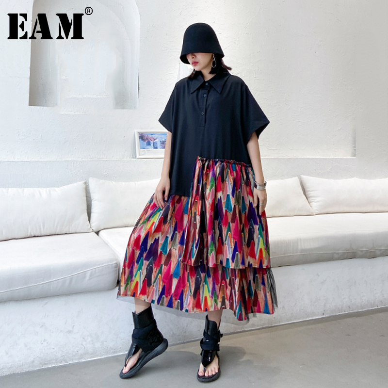 [EAM] Women Black Pattern Printed Ruffles Big Size Shirt Dress New Lapel Half Sleeve Loose Fit Fashion Spring Summer 2020 1T164