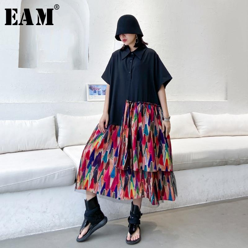 [EAM] Women Black Pattern Printed Ruffles Big Size Shirt Dress New Lapel Half Sleeve Loose Fit Fashion Spring Summer 2020 1T164