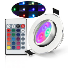 LED Downlight Round 5W Lamp Panel Light RGB Recessed with Remote Control Aluminum indoor party bar ktv light