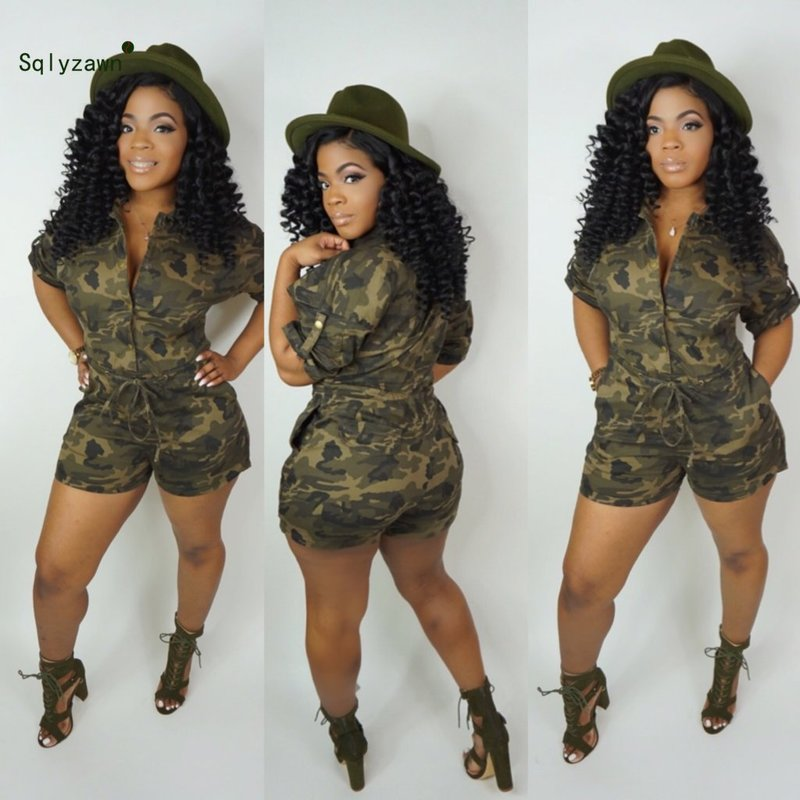 Women Camouflage Print Short Sleeve Playsuit Streetwear Camo Army Green Yellow Blue Lace Up  Romper Casual Plus Size Overall 3XL