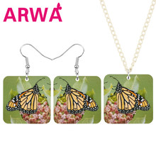 ARWA Acrylic Square Monarch Butterfly Flower Jewelry Sets Animal Insect Necklace Earrings For Women Girl Trendy Gift Accessories(China)
