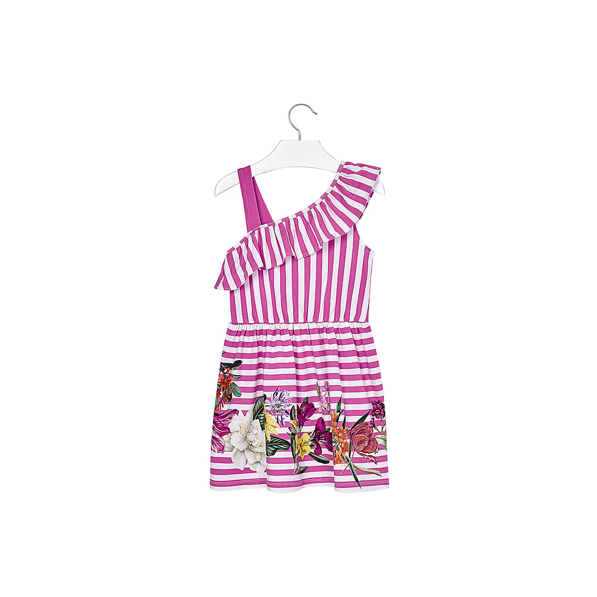 MAYORAL Dresses 10688893 Girl Children fitted pleated skirt Pink Cotton Casual Striped Knee-Length Sleeveless Sleeve striped raglan sleeve floral tee