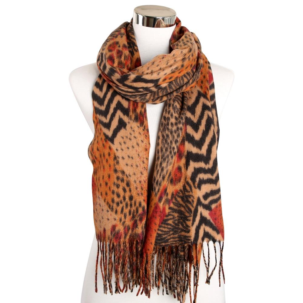 Brown Poncho Leopard Femme Women Winter Blanket Scarf Warm Soft Cashmere Thicken Long Ladies Tassel Scarves Poncho Foulard 2020