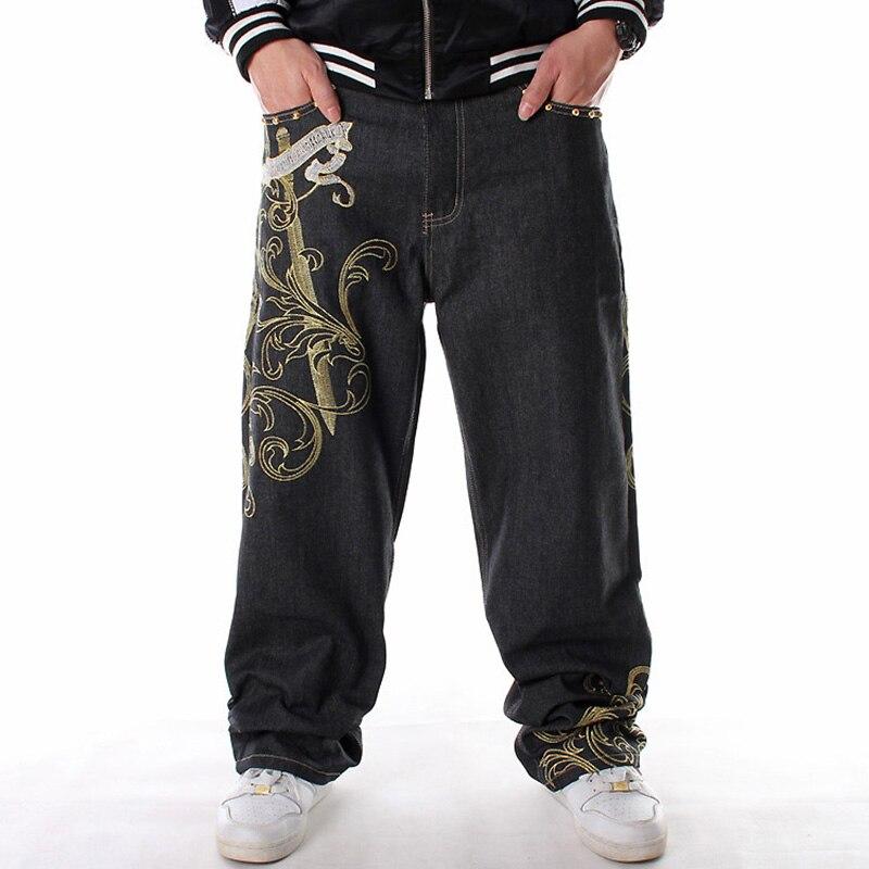 Nanaco Plus Size 30-46 Mens Baggy Jeans Wide Leg Hip Hop Denim Pants 2019 New Fashion Embroidery Skateboarder Jeans