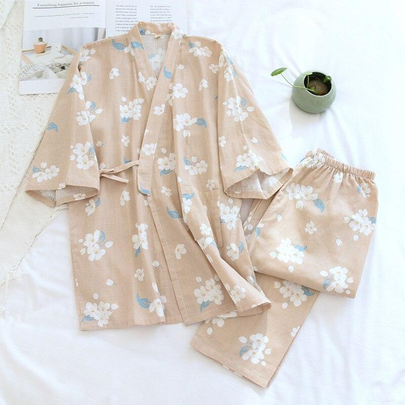 Японское женское кимоно Пижама весенний тонкий трикотажный свитер из хлопка из сетчатой ткани, одежда для сна, с v-образным вырезом, с цветоч...