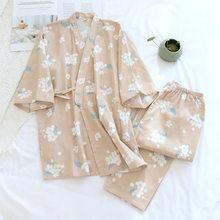 Senhoras japonesas kimono pijamas primavera algodão fino gaze pijamas com decote em v impressão floral lounge wear fino solto 2 peça conjunto