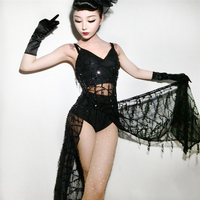 New bar ds sexy female singer dj stage costume adult costumes disco dance backless perspective split dress
