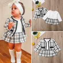 2 предмета, осенне-зимняя Праздничная детская одежда для маленьких девочек, Модное пышное клетчатое пальто платье-пачка, комплект одежды для маленьких девочек