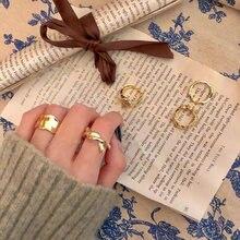 Золотистое матовое металлическое геометрическое Открытое кольцо