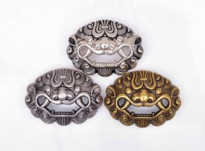 10X Antique Silver Metal Chinese Amulet Lucky Guardian Foo Dog Lion Leathercraft Wallet Concho Screwback