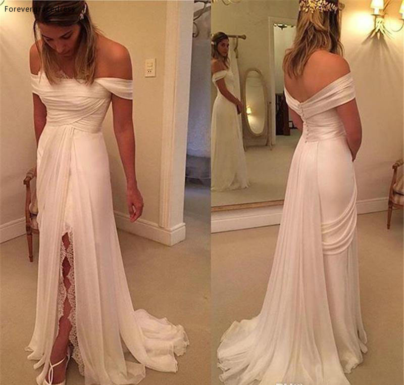 2019 New A Line Beach Wedding Dress Lace Chiffon Off The Shoulder Split Bridal Gown Custom Made Plus Size