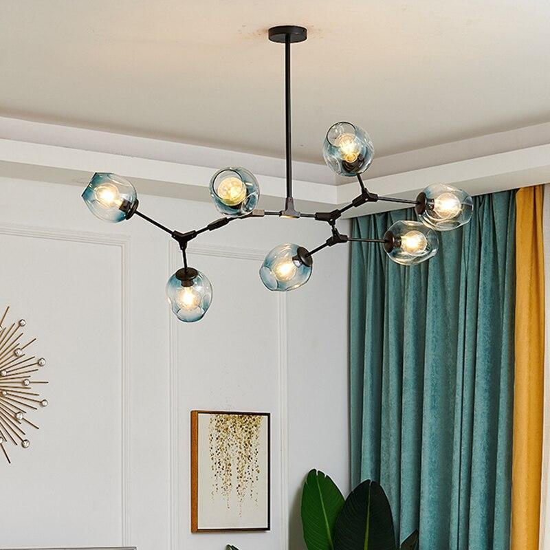 Modern LED Chandelier Lighting Glass Lustre LOFT Dining Bedroom Bedroom Ball chandeliers Kitchen Fixtures Luminaire pendant lamp 4