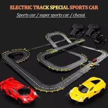 Trilha de plástico carro esportivo elétrico/mão cranking para pista de corrida super carro esportivo com luzes 2 pces criança brinquedo trilha carro especial