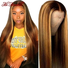Wig Frontal-Wigs Highlight Human-Hair-Wigs Lace-Front Straight Brown Ombre 13x4