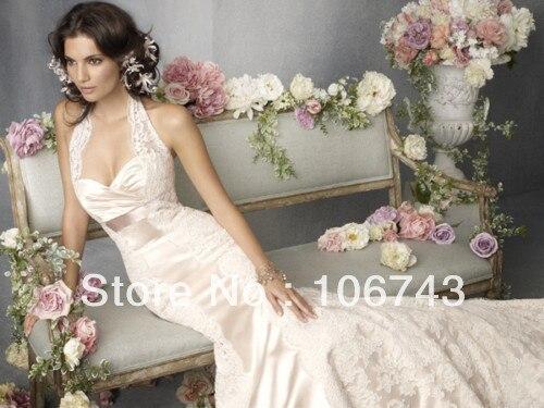 Free Shipping 2018 Sexy Halter Lace Mermaid Slim Bride Bridal Gown Custom Size Vestido De Noiva Mother Of The Bride Dresses