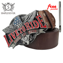 Dropshipping Mens Belt Buckle Assessories for Women LIVE TO RIDE Metal 4cm Width