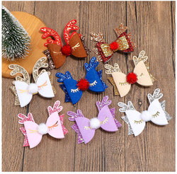 24pc/lot Christmas Hair Clip Christmas Decoration Hairpin XMAS Antlers Deer Hair Clip For Girls Kids Party Hair Accessories