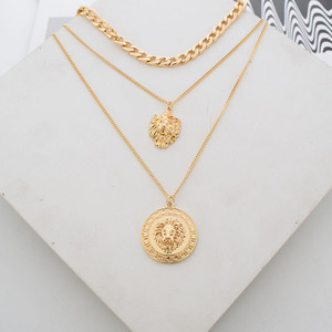 Punk Style Statement Metal Gold Color Chain Multi Layer Necklaces Lion Pattern Round Coin Pendant Necklace For Women Party 2020