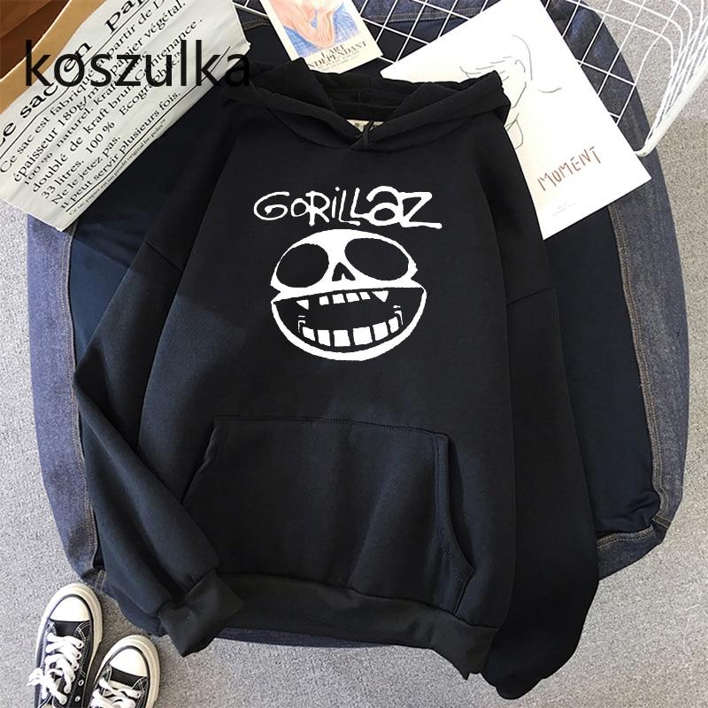 Gorillaz Skull  Funny Print Hoodie Kpop Korean Style Loose Sweatshirt Korean Fashion Hip Hop All-match Leisure Harajuku Hoodie 9