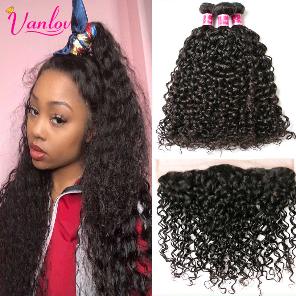 Vanlov Human Hair Bundles With Frontal 3 PCS Brazilian Water Wave Hair Bundles With Closure Remy Hair Lace Frontal with Bundles