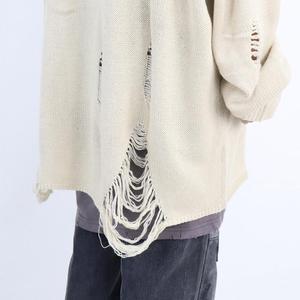 Image 5 - Printemps automne femmes mode hip hop punk pull avec trou déchiré hommes style Coréen surdimensionné pulls vintage pullover décontracté