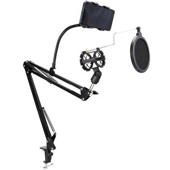 Stojak regulowany uchwyt uchwyt mikrofonu z klips do telefonu filtr Pop elastyczne ramię montaż zacisku stołu do nagrywania mikrofonów tanie i dobre opinie sheingka CN (pochodzenie) 1566858