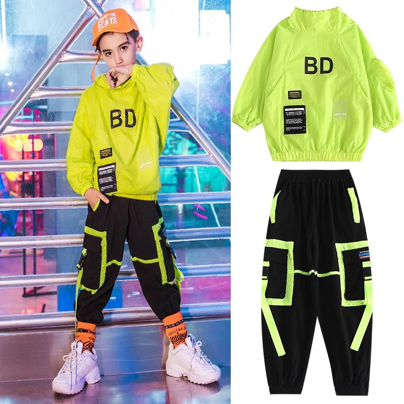 Children'S Jazz Dance Costumes Street Dancewear Long-Sleeved Loose Sweater Hiphop Pants Boys Hip-Hop Clothing For Boys DQS3449