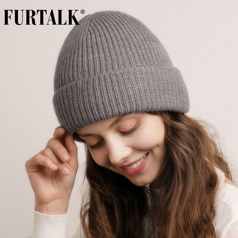 FURTALK Beanie Winter Hat For Women Knitted Slouchy Beanie Men Skullies Ladies Warm Hats Soft Female Korean Winter Cap 2019