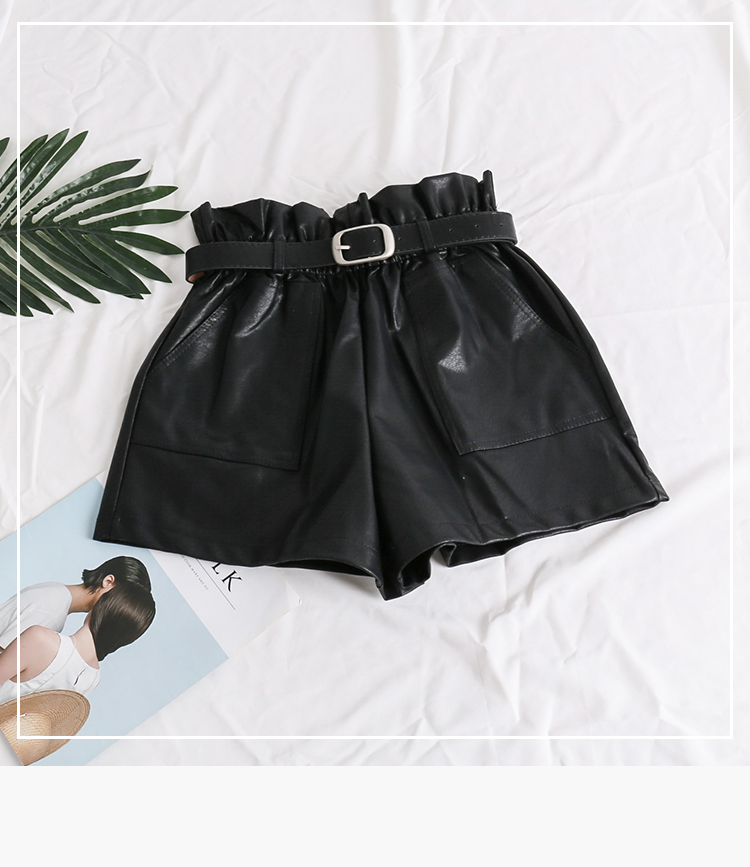 Elastic High Waist Loose PU Leather Shorts Women England Style Sashes Wide Leg Short Ladies Sexy Leather Shorts Autumn Winter 21