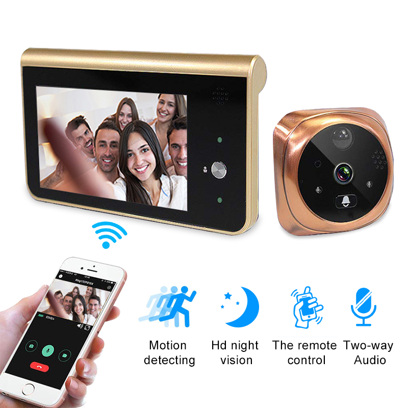 Peephole Camera Wifi 4.3 Inch  Home Visible Cat Eye Doorbell Smart Voice Phone Intercom Video Anti-Theft Surveillance Doorbell