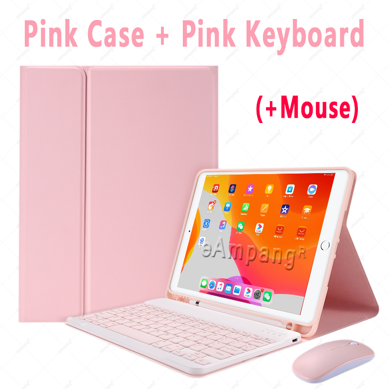Pink with Mouse Red Keyboard Case With Wireless Mouse For iPad Air 4 10 9 2020 4th Generation A2324 A2072