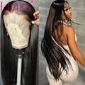 Парик из человеческих волос, прямые бразильские волосы Remy 28, 30 дюймов, предварительно выщипанные волосы 6x6, парики на сетке для черных женщин