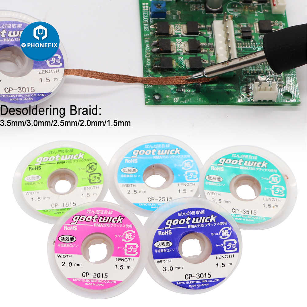 1.5M 3.5mm Desoldering Braid Solder Remover Wick Wire Repair Low Residue 1.5//5ft