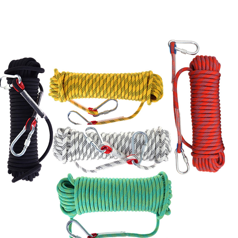 12mm*30m Outdoor Climbing Rope with Hook High Strength Climbing Safety Rope Camping Hiking Rescue Rope Emergency Survival Tool