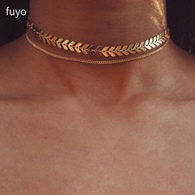 Multi Arrow choker Necklace Women Two Layers Necklaces Collares Fishbone Airplane Necklace Flat Chain Chocker On Neck Jewelry cheap fuyo Zinc Alloy Chokers Necklaces TRENDY Link Chain Metal geometric All Compatible Party other 30*10cm Fashion CN1851 8 5g