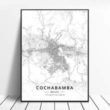 Cartaz do mapa da arte da lona da bolívia de cochabamba la paz