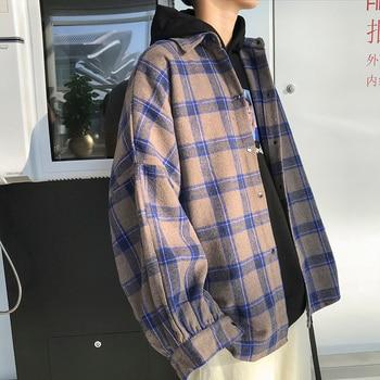 ¡Novedad de otoño del 2020! Camisas a cuadros para hombres, camisas informales de gran tamaño para mujer, ropa clásica a la moda para hombre, camisa de manga larga