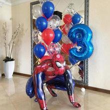 1 conjunto 3d grande spiderman super herói folha balão os vingadores número festa de aniversário decoração crianças homem de ferro brinquedo das crianças presentes