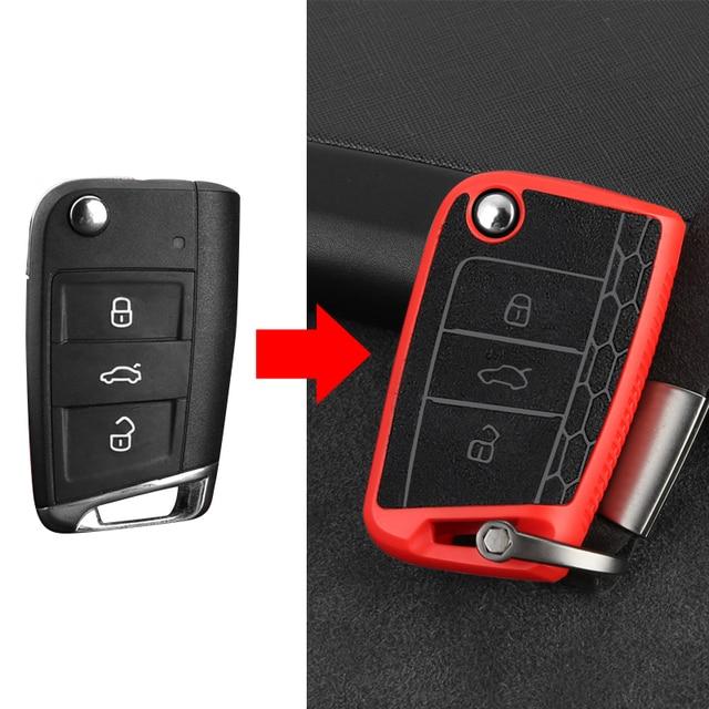 Plastik + deri araba anahtarı durum kapak için VW Golf 7 mk7 Tiguan MK2 Polo 2019 Seat Ibiza Leon FR 2 Altea aztek Skoda Octavia için A7