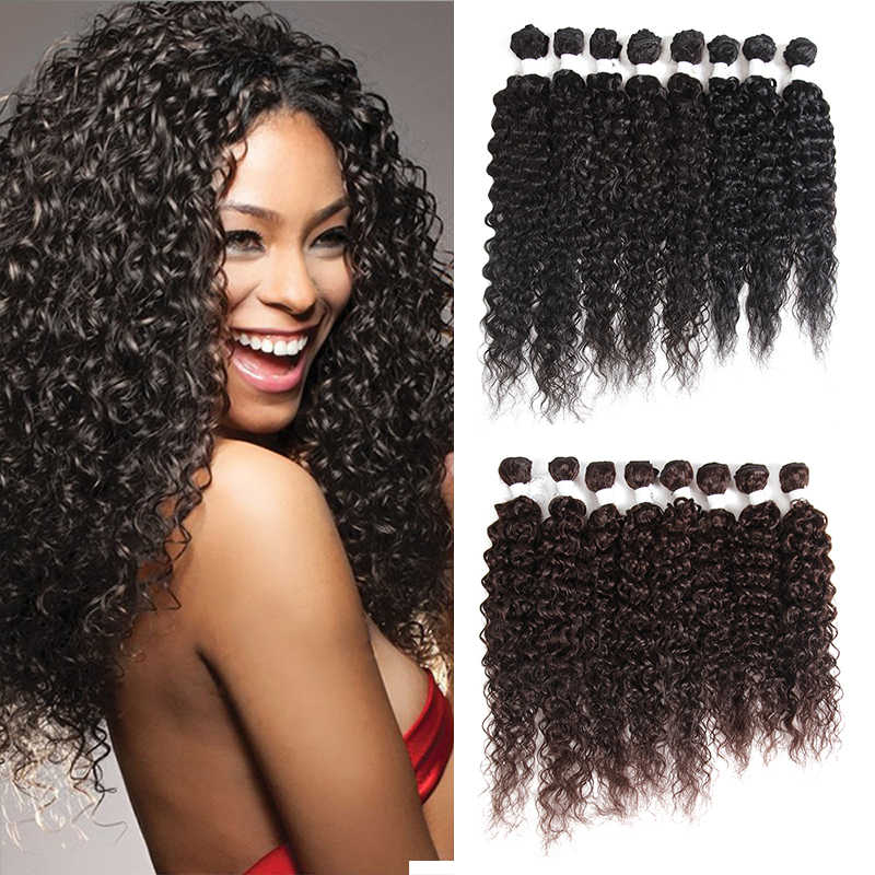 "SOKU Kinky Curly Synthetic Hair Bundles 8pcs/pack 16""-20"" High Temperature Fiber Hair Weaves Sew in hair Extensions"