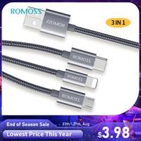 ROMOSS-Cable USB 3 en 1 para móvil, Cable de datos de carga rápida tipo C para iPhone 7, 11, Huawei P40, P30, Samsung y Xiaomi