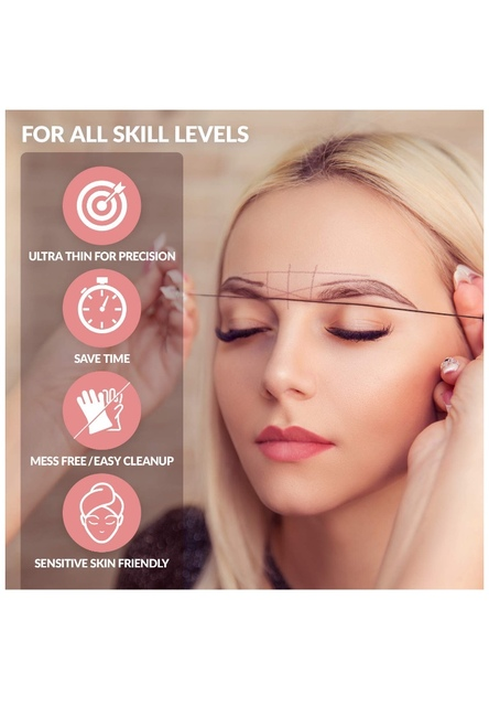 Microblading Eyebow Make Up Dyeing Liners Thread Mapping Pre-ink String for Semi Permanent Positioning Eyebrow Measuring Tools 5