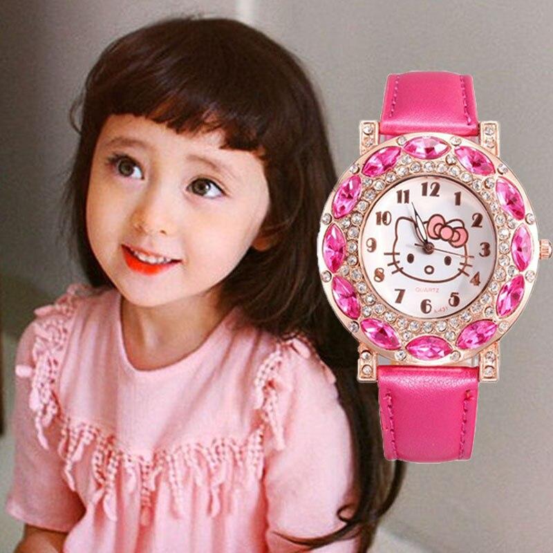 Kids Watches Girls Hello Kitty Cute Children Watch Waterproof Watch Kids Girl Rhinestone Leather Clock Relogio Infantil Feminino