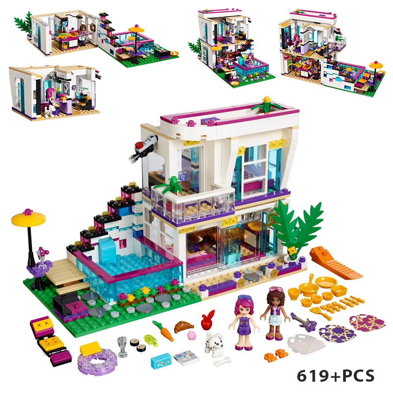 Livis Pop Star House architecture 619PCS street view villa building block children toy compatible 41135 figures image