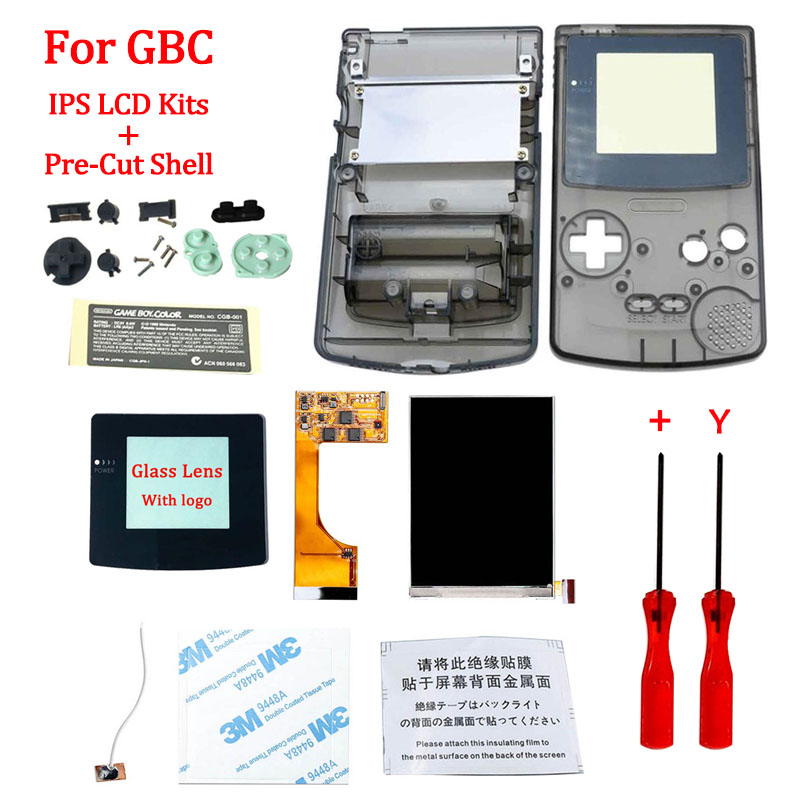 Full Screen Backlight IPS LCD With Pre-cut Shell Case for Gameboy Color ips backlight LCD screen for GBC with housing shell case