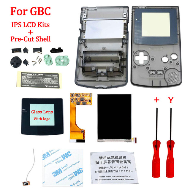 Full Screen Backlight IPS LCD With Pre cut Shell Case for Gameboy Color ips backlight LCD screen for GBC with housing shell case