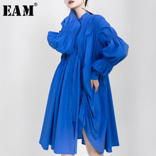 [EAM] kobiety asymetryczna plisowana Big Size sukienka nowy, ze stójką z długim rękawem luźny krój mody fala wiosna jesień 2020 1K937