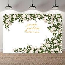 Neoback personalizável folha verde rosa floral casamento fotografia fundos aniversário photocall foto pano de fundo banner