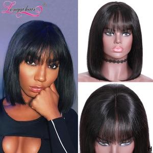 Longqi 150% 13x4 Glueless Lace Front Human Hair Wigs Brazilian Remy Straight Bob Lace Front Wigs Shot Bob Wigs With Bang(China)